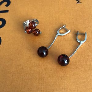 925 silver jewelry set with amber
